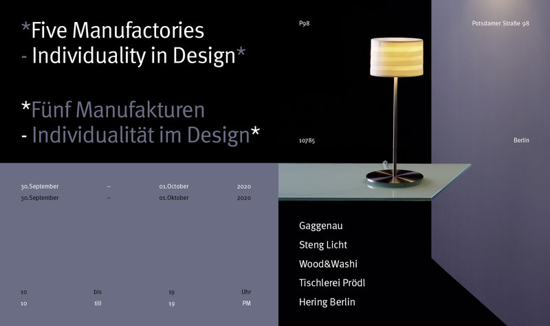 Invitation to the architectural show  *Five Manufactories - Individuality in Design*